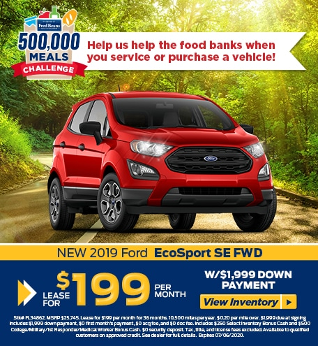 Lease a 2019 Ford EcoSport SE for $199/mo for 36 months!