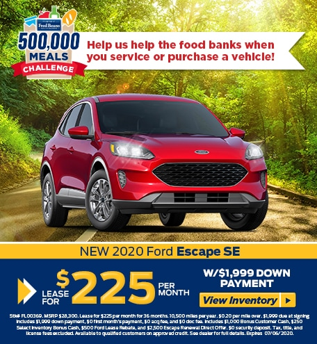 Lease a 2020 Ford Escape SE FWD for $225/mo for 36 months!