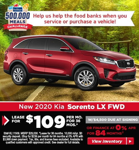 Buy a 2020 Sorento LX FWD for $239/mo for 84 months at 0% APR!