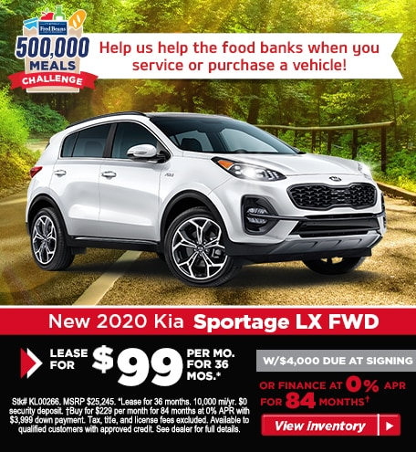 Buy a 2020 Sportage LX AWD for $229/mo for 84 months at 0% APR!