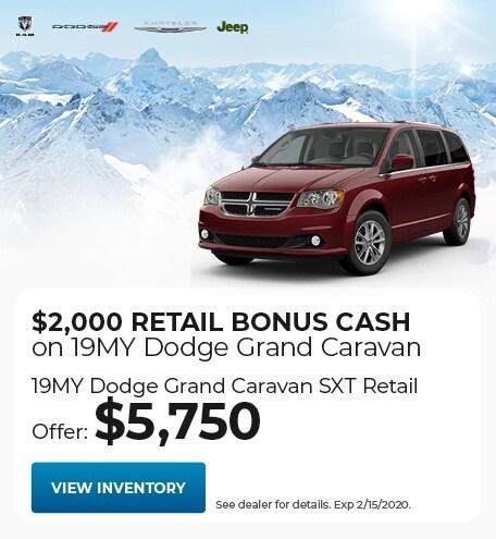 $2,000 Retail Bonus Cash on 19MY Dodge Grand Caravan