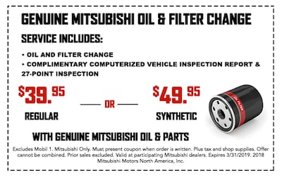 Genuine Mitsubishi Oil & Filter Change