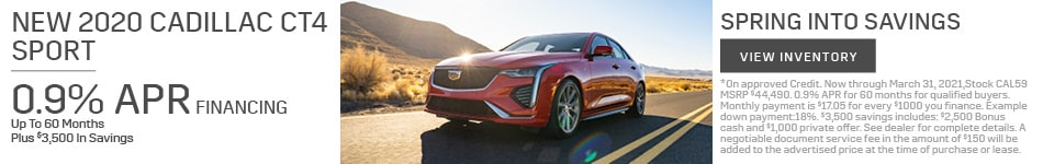 New 2020 Cadillac CT4 Sport