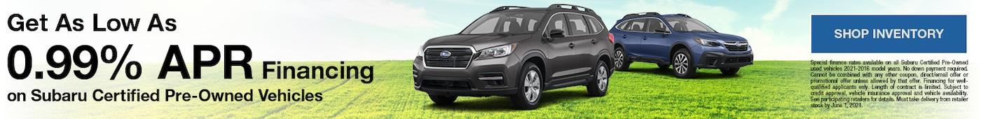 0.99% Financing On Subaru Certified Pre-Owned Vehicles