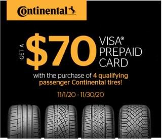 Continental $70 Prepaid Visa Card