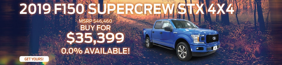 Buy a 2019 Ford F150 Supercrew STX 4x4 for only $35,399
