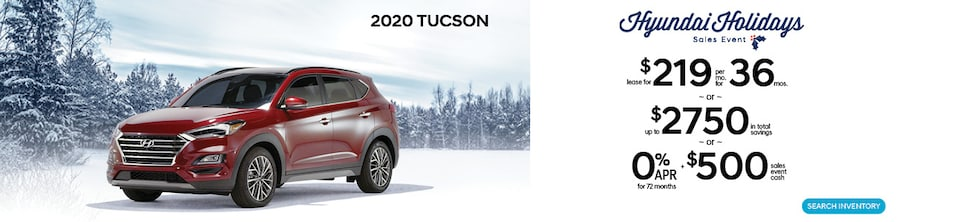Hyundai Holidays! Lease a 2019 Tucson for $219/mo for 36 Months.