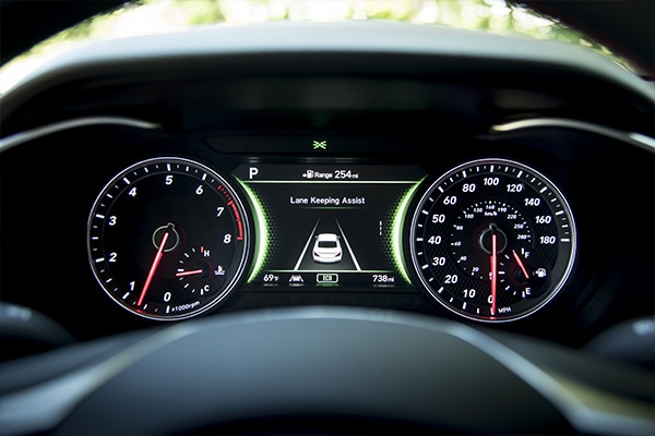 Lane Keeping Assist saftey feature displayed in the gauge cluster