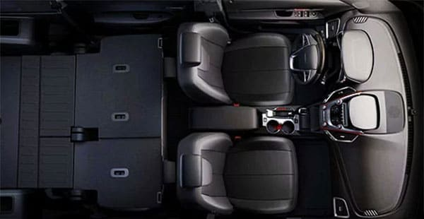 GMC Terrain overhead view of interior with seats down