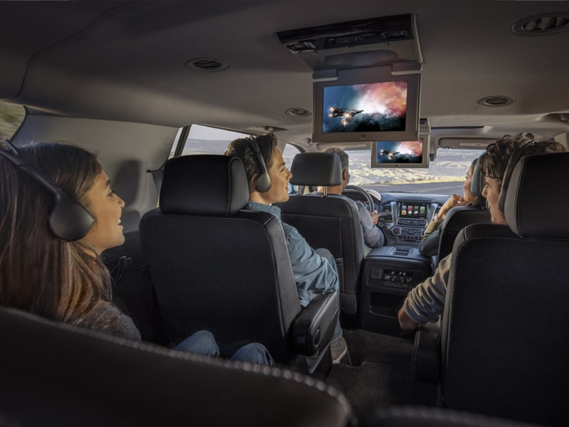 2019 Chevy Suburban Interior Seating and Movie Screens