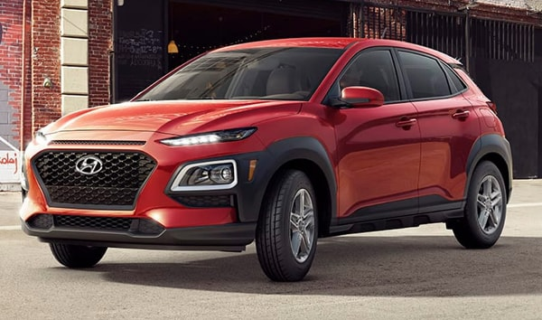 2019 Pulse Red Hyundai Kona SE Parked