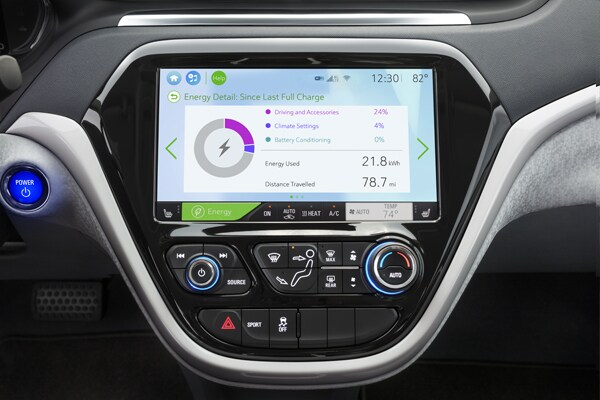 2019 Chevy Bolt Dash Energy Usage Screen