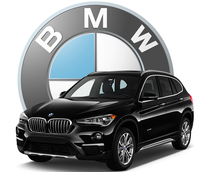 Black BMW and BMW Logo graphic