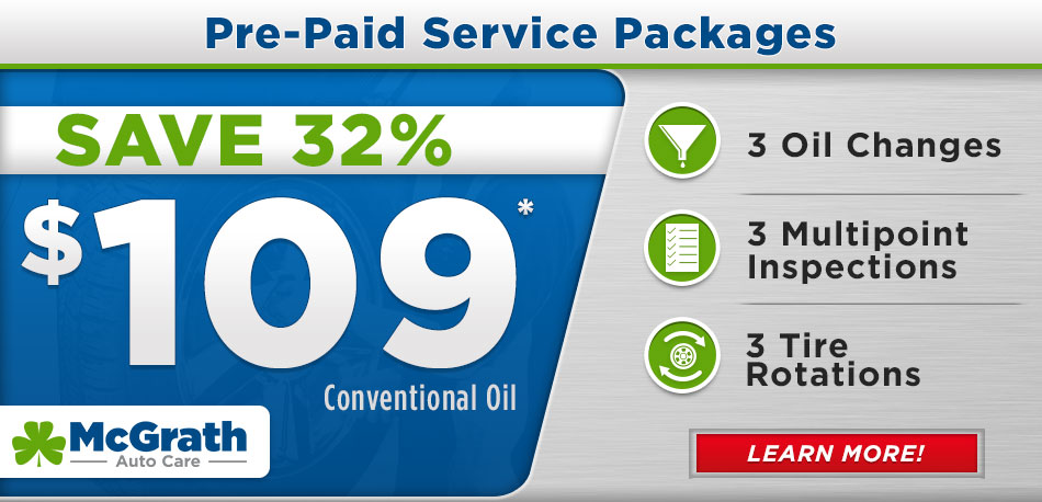 McGrath AutoCare Oil Change, Inspection, Tire Rotation package for only $99!