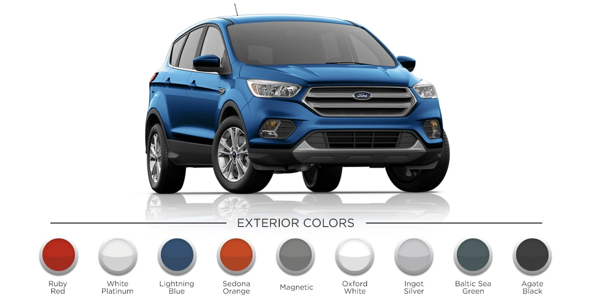 2019 Lightning Blue Ford Escape Parked previewing all exterior colors (Ruby Red, White Platinum, Lighting Blue, Sedon Orange, Magnetic, Oxford White, Ingot Silver, Baltic Sea Green, Agate Black)