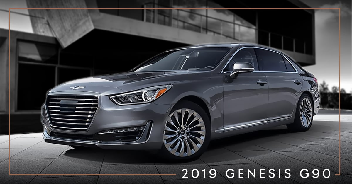 2019 Genesis G90 parked in front of a cement building