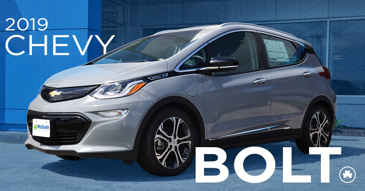 2019 Silver Chevy Bolt Parked at McGrath Auto
