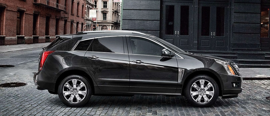 Black Cadillac SRX Side Angle