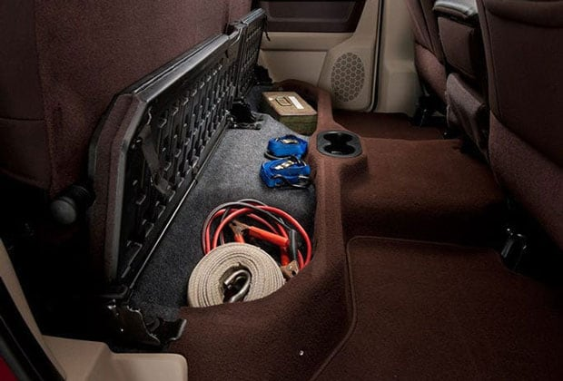 Under seat storage in the Ram 2500