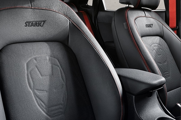 2019 Hyunda Kona Ironman Interior Seats with Stark Industries stitched into them and an embossed Ironman Logo
