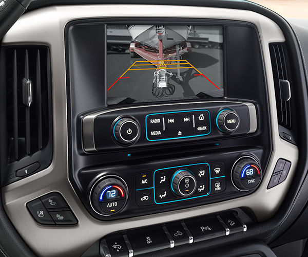2019 Sierra 2500HD / 3500HD SLT 8-Inch Diagonal Color Touch Screen Audio System with GMC Infotainment System; Featuring Rear Vision Camera with Dynamic Guide Lines; Active Safety Feature