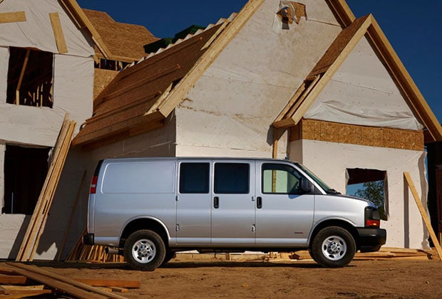 Chevy Express working a construction site