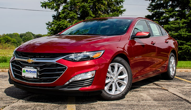 2019 Cajun Red Chevy Malibu LT front exterior parked in a lot