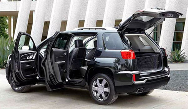 GMC Terrain all doors open showing interior