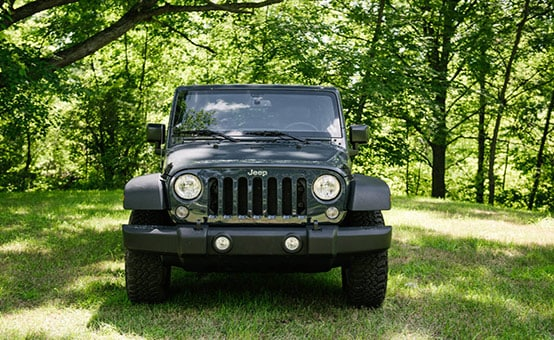 Gray Jeep Wrangler Front View