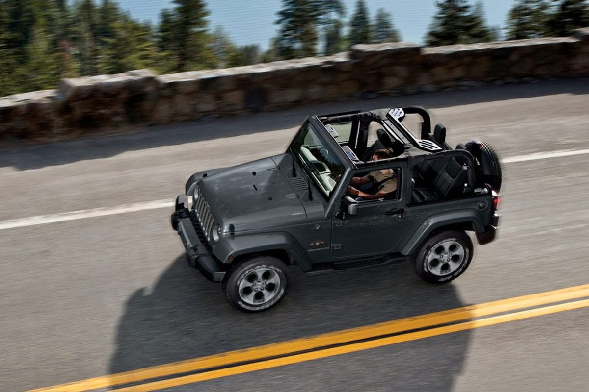 Jeep Wrangler offers multiple storage bins with tie down features