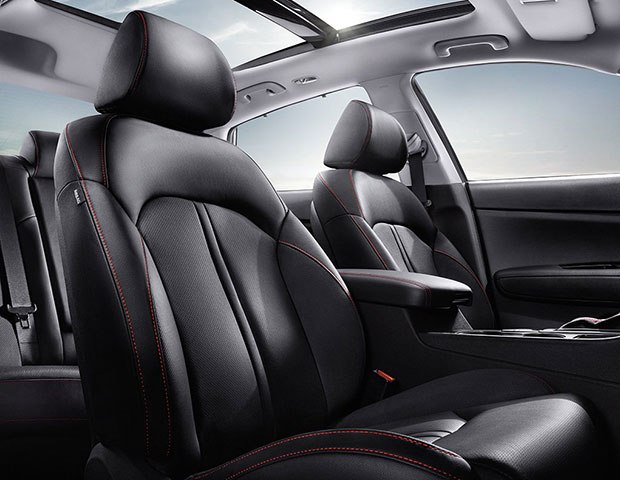Black Leather seating in the 2018 Kia Optima S