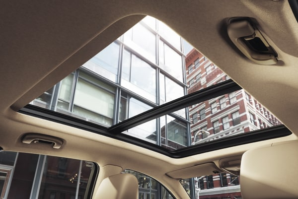 2019 Cadillac XT5 Luxury Premium UltraView Sunroof showing the city skyscrapers