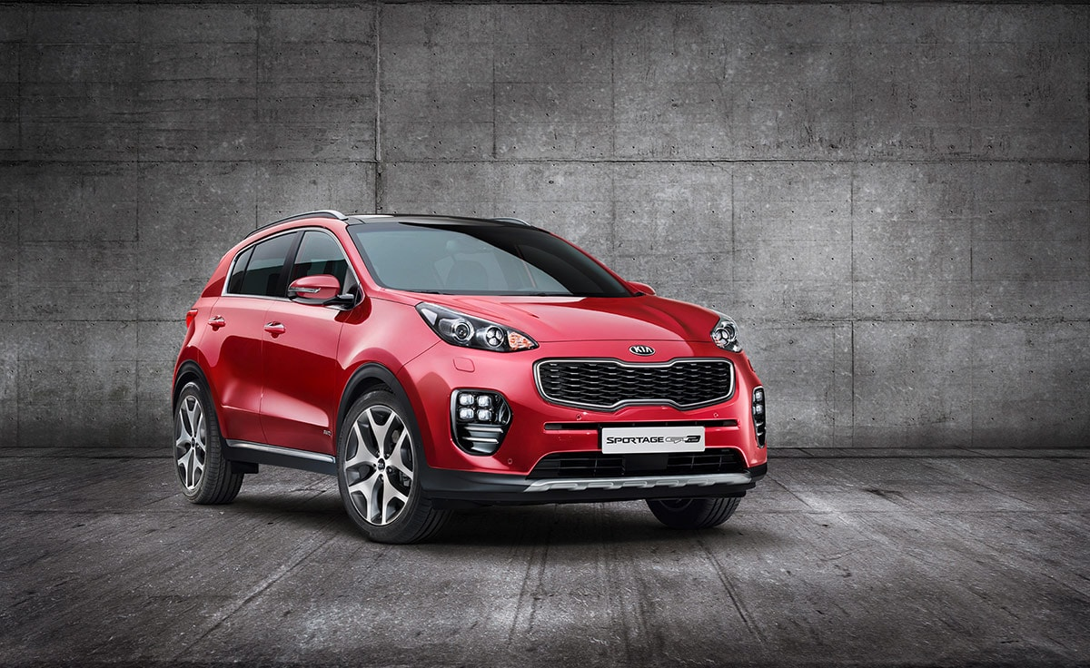 Red Kia Sportage Front angle