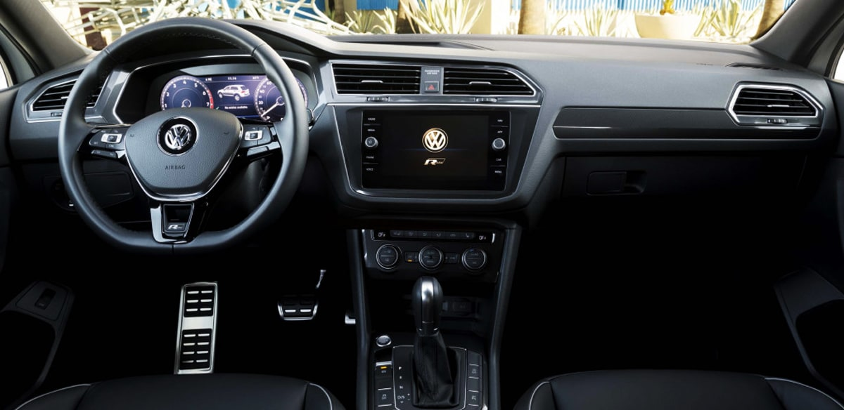 2019 VW Tiguan leather interior and front dash infotainment center