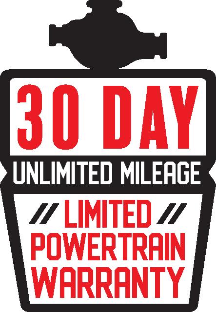 30 Day Unlimited Mileage Limited Powertrain Warranty