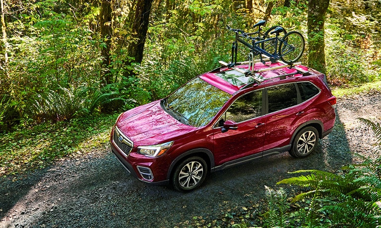 Red 2019 Subaru Forester on cliff