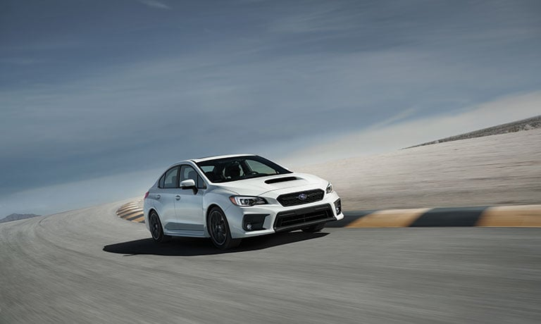 2019 Subaru WRX exterior view driving on racetrack