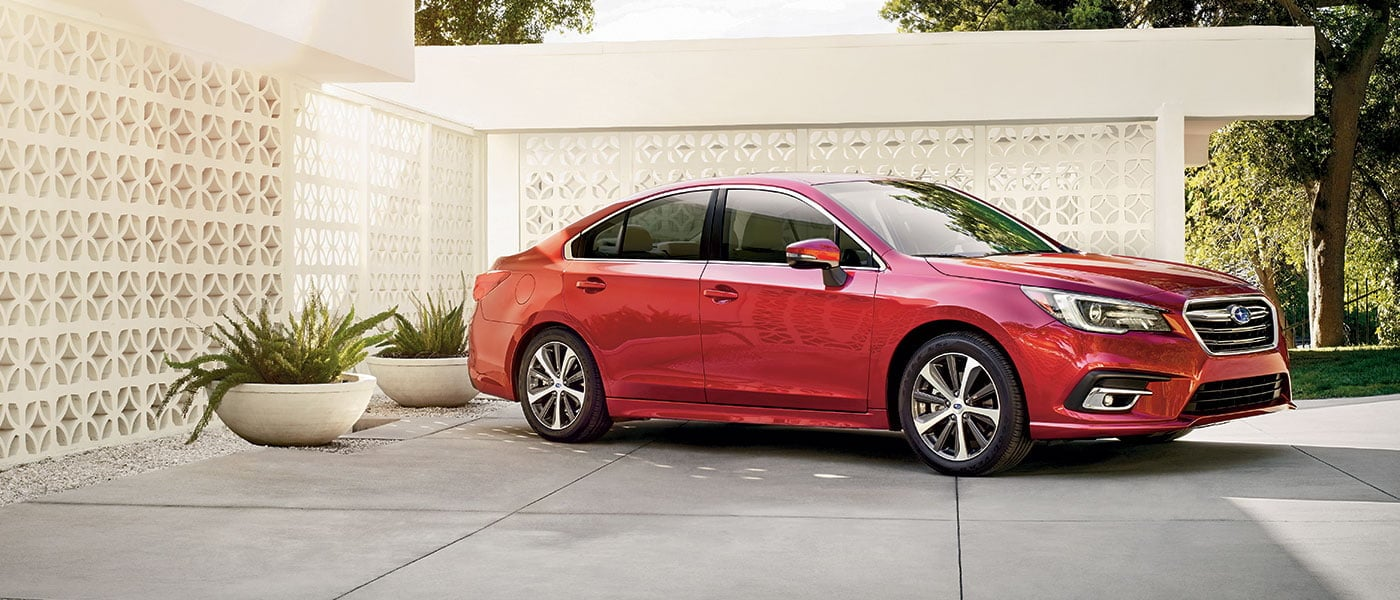 Red 2019 Subaru Legacy exterior view outside home