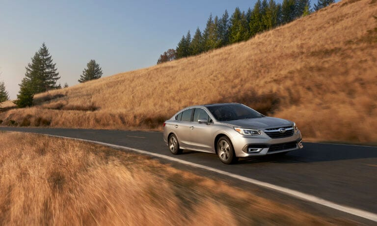 2020 Subaru legacy Driving on Highway Front Angel view