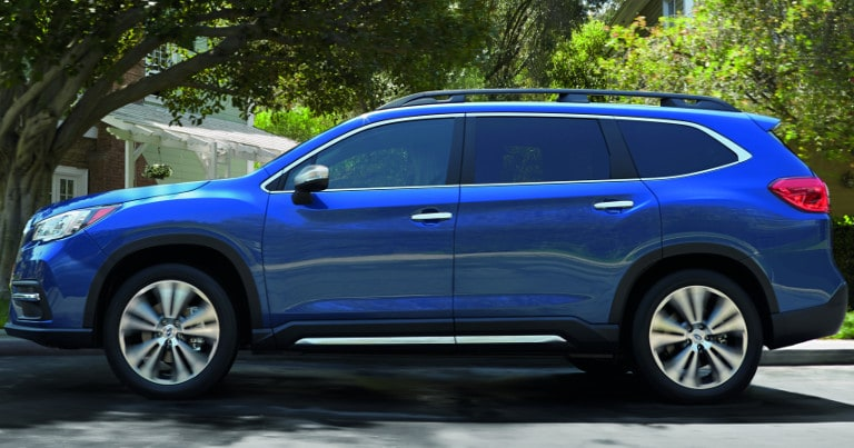 Blue Subaru Ascent sideview