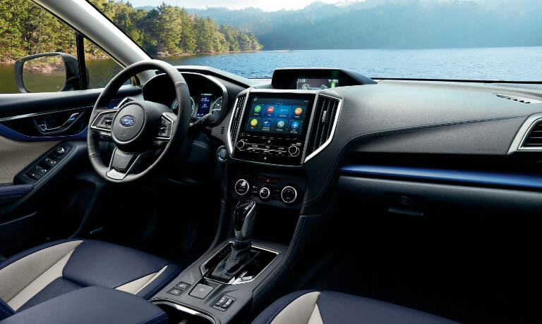 2020 Subaru Crosstrek interior showing the dash view from the passanger seat
