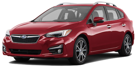 A red 2019 Subaru Impreza Limited 5-door