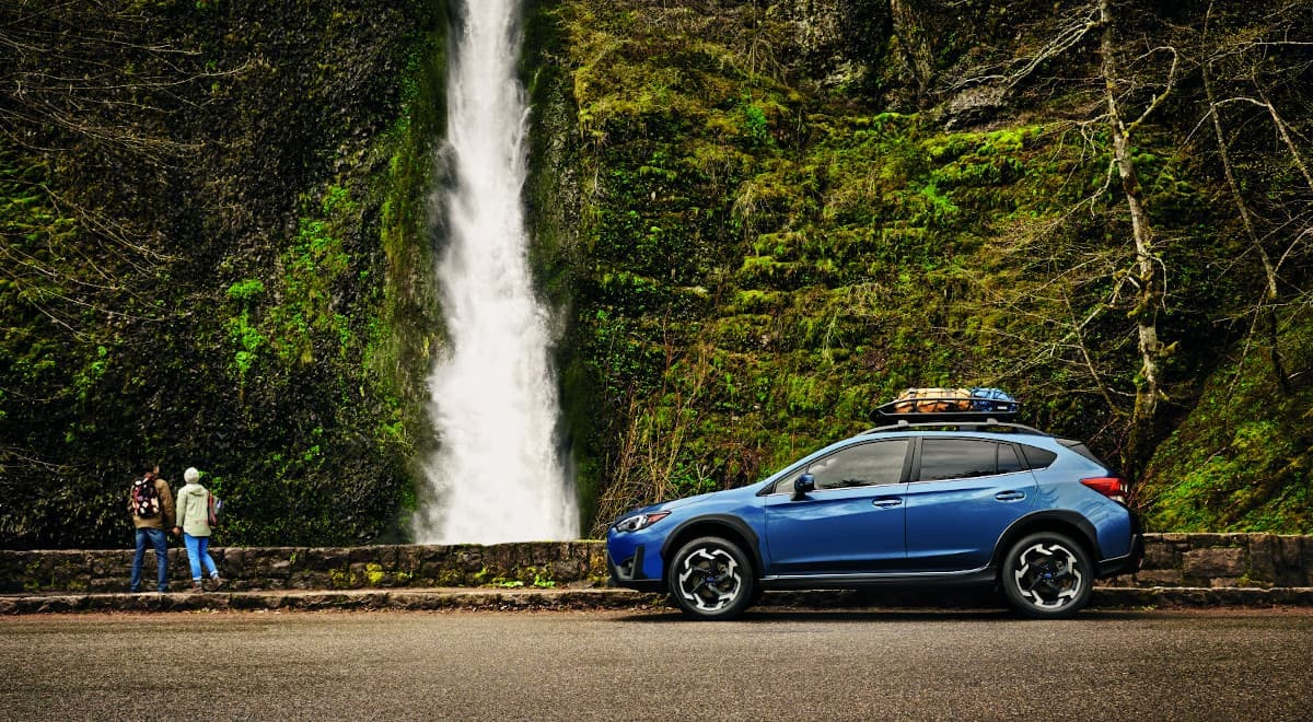 2021 Subaru Crosstrek near a waterfall