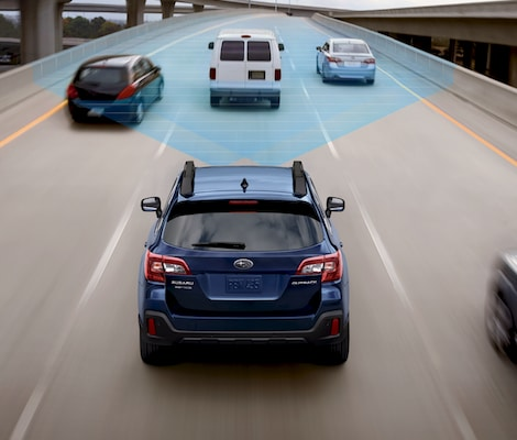 A 2019 Subaru Outback using a safety sensing feature