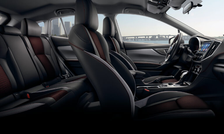 2020 Subaru Impreza interior side view showing front and back seats