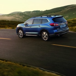 Blue Subaru Ascent on Road