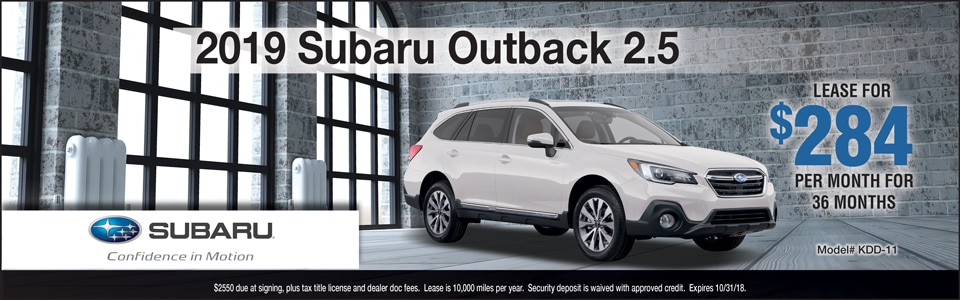 2018 Subaru Outback October Lease