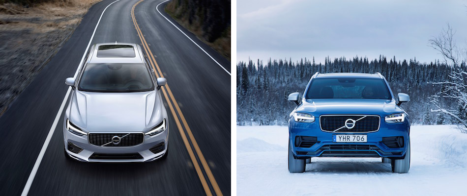 A white Volvo XC60 driving down a road and a blue Volvo XC90 driving in the snow