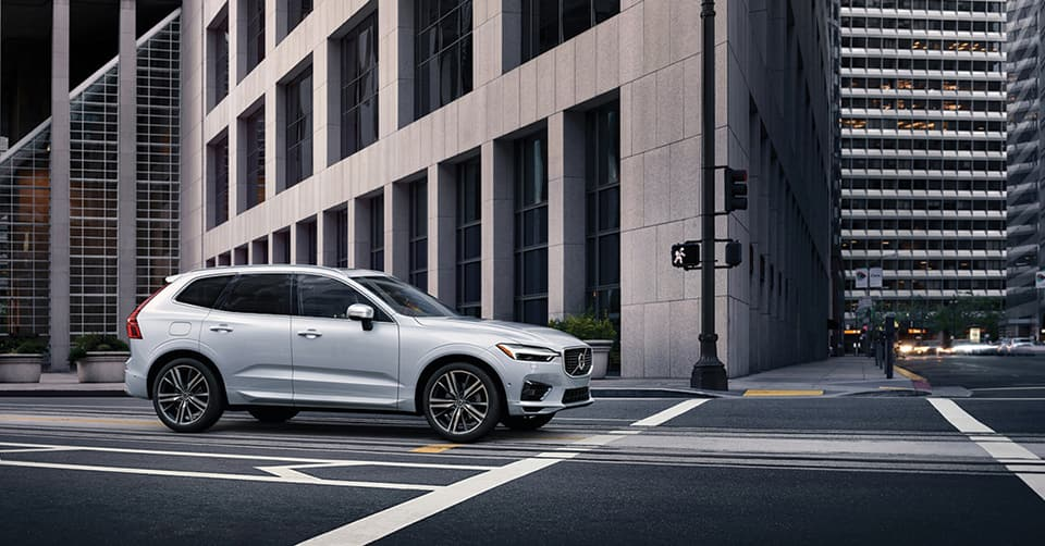 Side shot of a white 2019 Volvo XC60