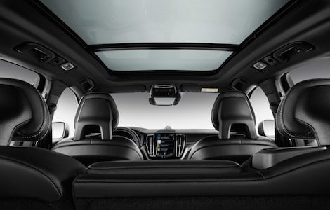 The interior from the back seat of the 2019 Volvo XC90